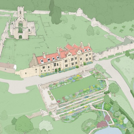 Mount_grace_priory_illustrated_map_details_English_Heritage_illustrated_by_Nick_Ellwood